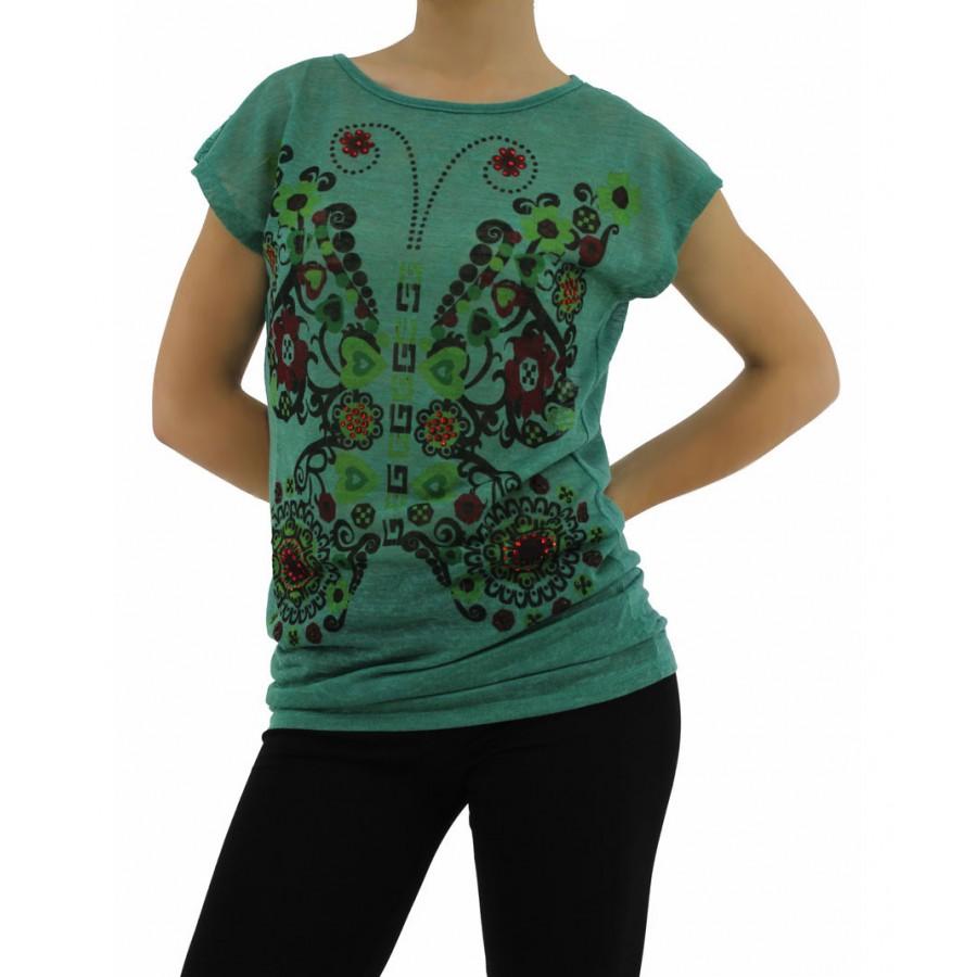 4ecdf4df83d Дамска блуза къс ръкав W1370A - зелена - Дамски блузи къс ръкав ...